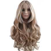 RightOn 80cm High Quality Long Curly Women Girl's Mixed Colour Simulation-Scalp Synthetic Hair With Free Wig Cap and Comb