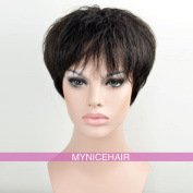 MyNiceHair--100% Pure Human Hair Curly Short Wigs for Black Women, Can be Dyed, Washed and Curled