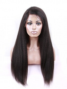 Afro Kinky Straight Brazilian Human Hair Glueless Full Lace Wig Natural Black 1B