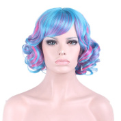 "Rise World 14 "" 35 cm Women's Short Curly Oblique Bang Full Hair Wig Two Tone Blue Mixed Pink Ombre"