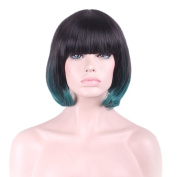 "Rise World 13 "" 32 cm Women's Short Bob Oblique Bang Full Hair Wig Two Tone Black Root to Dark Green Ombre"