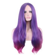 "Rise World 28 "" 72 cm Women's Long Wavy Carve Full Hair Wig Two Tone Purple Root to Rose Red Ombre"