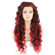 Mxangel Long Heat Resistant Synthetic Hair Red Tip Auburn Celebrity Stylish Curly Lace Front Wig Natural