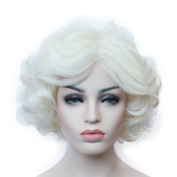 Capless Fluffy Short Wavy Milky White Colour Big Wave Wavy Sexy Ladies Hairstyle Synthetic Hair Full Party Wig for Women