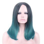"Rise World 18 "" 45 cm Women's Long Wavy Carve Full Hair Wig Two Tone Black Root to Dark Green Ombre"