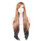 "Rise World 32 "" 80 cm Women's Long Wavy Oblique Bang Full Hair Wig Two Tone Flaxen Root to Dark Green Ombre"