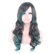"Rise World 26 "" 65 cm Women's Long Wavy Curly Oblique Bang Full Hair Wig Two Tone Black Ombre to Dark Green"