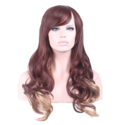 """Rise World 27 """" 68 cm Women's Long Wavy Curly Oblique Bang Full Hair Wig Two Tone Brown Root to Flaxen Ombre"""
