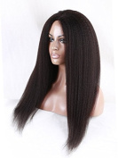 Middle U Part Kinky Straight Natural Black Colour Brazilian Virgin Remy Human Hair Lace Front Wigs Unprocessed