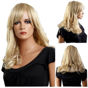 MELADY®(Free Cap) Fashion Sexy Pear Style Blonde Medium-Long Curly Waves Synthetic Women Girls Lady Hair Replacement Wigs