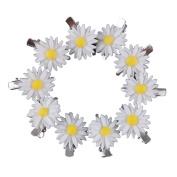 Yueton 10pcs Little Daisy Flower Barrettes Bobby Pin Alligator Clip Hair Clips Bride Head-wear Edge Clip Clamps
