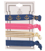 TRS Colourful Ancho/Nautical, Pink, Gold Tone Stripe and Navy Stretch Hair Ties
