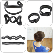 QY 2Pack Black Colour Resin Magic Donut Twister Ponytail Bun Maker, Big Size and Middle Size