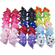 XIMA 18pcs 8.9cm cheer leading ribbon bows with alligator clip for baby and girls