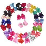 XIMA 22pcs 8.9cm Grosgrain Ribbon Polka Dot Hair Bow with Alligator Clip for Baby Girls