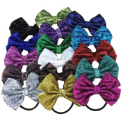 XIMA 16pcs Glitter Bow with Black Elastic Hairband for Girls Ponytail Holder