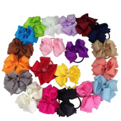 XIMA 20pcs Grosgrain Ribbon Bow Ponytail Holder for Girls Haibands