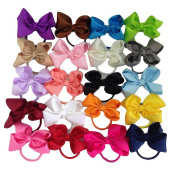 XIMA 20PCS Ribbon Bow with Elastic Haibands Bows Ponytail Holder