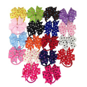 XIMA 18pcs polka dot bow hairbands, girls bow ponytail holders,hairbands for girls