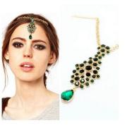 Joyci 1Pcs Stylish Pendant Diamond Hair Clip Chain Indian Style Head Chain