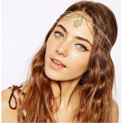 Joyci 1Pcs Bohemian Blue Turquoise Hair Chain Party Head Piece Metal Head Warp