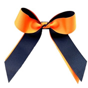 Victory Bows Two Colour Grosgrain Hair Bow- The Juliet Orange and Black- Made in the USA French Clip