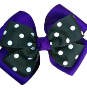 Victory Bows Polka Dot Double Quad Grosgrain Hair Bow- The Siena Marie Purple and Black- Made in the USA French Clip