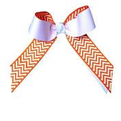 Victory Bows Chevron Grosgrain Hair Bow- The Juliet Orange Chevron and White- Made in the USA French Clip