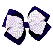 Victory Bows Chevron Double Quad Grosgrain Hair Bow- The Siena Marie Navy Blue and Silver- Made in the USA Pony Tail Band