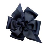 Victory Bows Large Four Loop Bow with Mini Flower- The Monica Black- Made in the USA Pony Tail Band