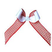 Victory Bows Chevron Grosgrain Hair Bow- The Juliet Red Chevron and White- Made in the USA French Clip