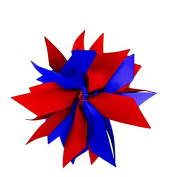 Victory Bows Spiky Pom Pom Grosgrain Hair Bow- The Sandra Red and Royal Blue- Made in the USA Pony Tail Band