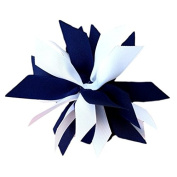 Victory Bows Spiky Pom Pom Grosgrain Hair Bow- The Sandra Navy Blue and White- Made in the USA Pony Tail Band
