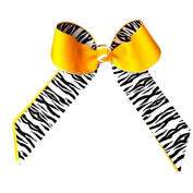 Victory Bows Black and White Zebra Grosgrain Hair Bow- The Juliet Zebra and Gold- Made in the USA Pony Tail Band
