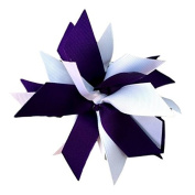 Victory Bows Spiky Pom Pom Grosgrain Hair Bow- The Sandra Purple and White- Made in the USA French Clip