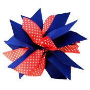 Victory Bows Spiky Pom Pom Swiss Dot Grosgrain Hair Bow- The Sandra Red Swiss Dot and Navy Blue- Made in the USA Pony Tail Band