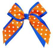 Victory Bows Polka Dot Multilayer Grosgrain Hair Bow- The Mariah Orange and White Polka Dot and Royal- Made in the USA French Clip