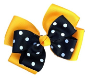 Victory Bows Polka Dot Double Quad Grosgrain Hair Bow- The Siena Marie Gold and Black- Made in the USA Pony Tail Band