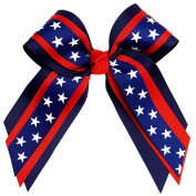Victory Bows Patriotic Multilayer Grosgrain Hair Bow- The Mary Star Navy, Red Blue with White Stars- Made in the USA Pony Tail Band