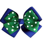 Victory Bows Polka Dot Double Quad Grosgrain Hair Bow- The Siena Marie Navy Blue and Hunter- Made in the USA French Clip