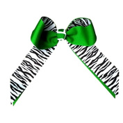 Victory Bows Black and White Zebra Grosgrain Hair Bow- The Juliet Zebra and Kelly Green- Made in the USA Pony Tail Band