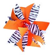 Victory Bows Spiky Pom Pom Zebra Grosgrain Hair Bow- The Sandra Zebra and Orange- Made in the USA Pony Tail Band