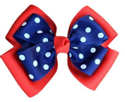 Victory Bows Polka Dot Double Quad Grosgrain Hair Bow- The Siena Marie Red and Navy Blue- Made in the USA Pony Tail Band