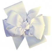 Victory Bows Large White Four Loop Bow with Mini Flower- The Monica White- Made in the USA Pony Tail Band