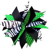 Victory Bows Spiky Pom Pom Zebra Swiss Dot Grosgrain Hair Bow- The Sandra Zebra, Kelly Green Swiss Dot and Black- Made in the USA French Clip