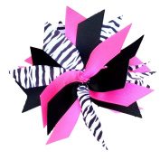 Victory Bows Spiky Pom Pom Zebra Grosgrain Hair Bow- The Sandra Zebra, Hot Pink and Black- Made in the USA French Clip
