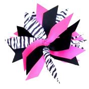 Victory Bows Spiky Pom Pom Zebra Grosgrain Hair Bow- The Sandra Zebra, Hot Pink and Black- Made in the USA French Clip