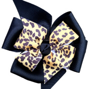 Victory Bows Large Black Four Loop Bow with Mini Leopard Flower- The Monica Leopard- Made in the USA Pony Tail Band