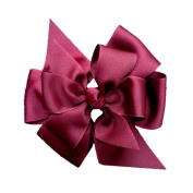 Victory Bows Large Four Loop Bow with Mini Flower- The Monica Maroon- Made in the USA French Clip
