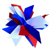 Victory Bows Spiky Pom Pom Grosgrain Hair Bow- The Sandra Red, Royal and White- Made in the USA French Clip
